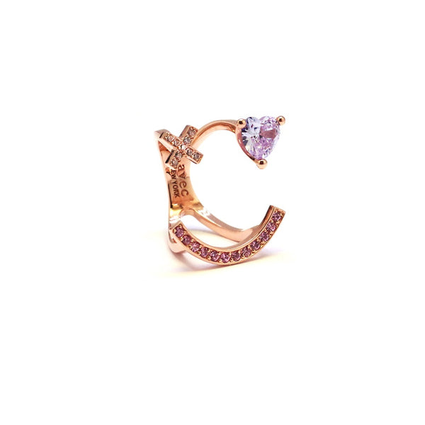 X HEART STONE SMILE PAVE RING