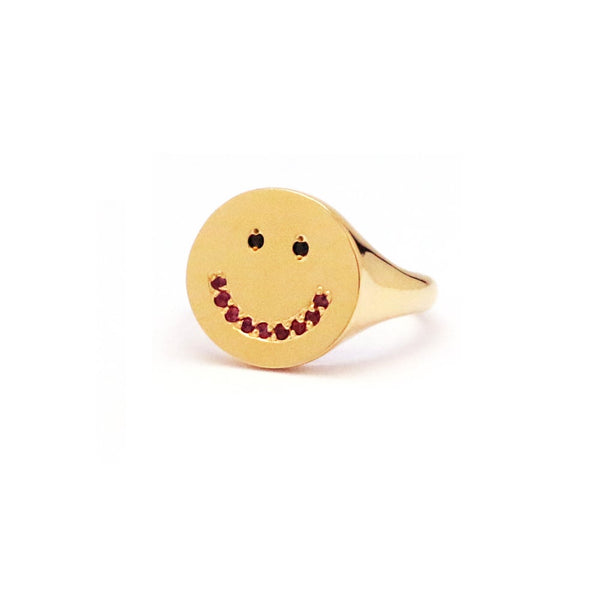 SMILE FACE PINKY SIGNET RING