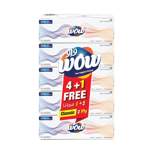 Wow Facial Tissue Classic 2Ply 200's 4+1