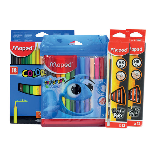 Maped Black Pep 2Dz+12 Color Fiber tip+18Color Pencil
