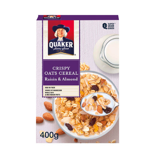 Quaker Crispy Oats Cereal Raisin & Almond 400g