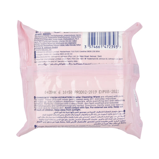 Johnson'S Fresh Hydration Micellar Cleansing Wipes 25'S