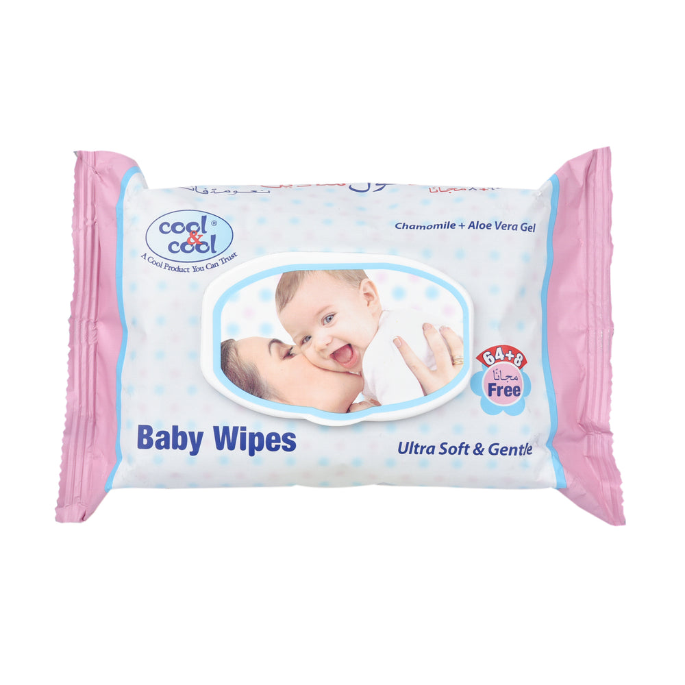 Cool&Cool Baby Wipes Ultra Soft Chamomile& Aloe Vera Gel 72'S