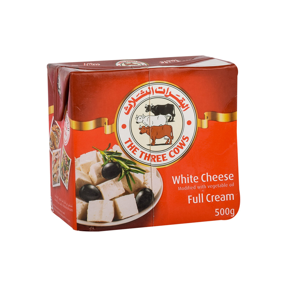 3 COWS Feta Brick Cheese Low Salt 500Gm