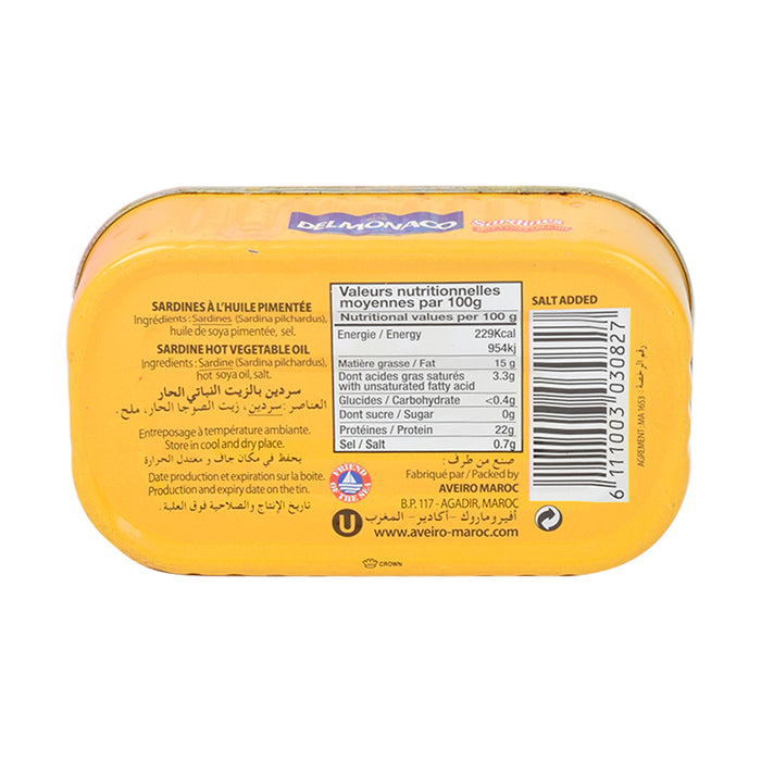 Delmonaco Sardines In Vegetable Oil Spicy 125gm