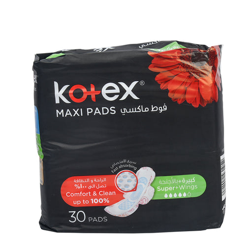 Kotex Feminine Napkin Super Maxi With Wings 30'S