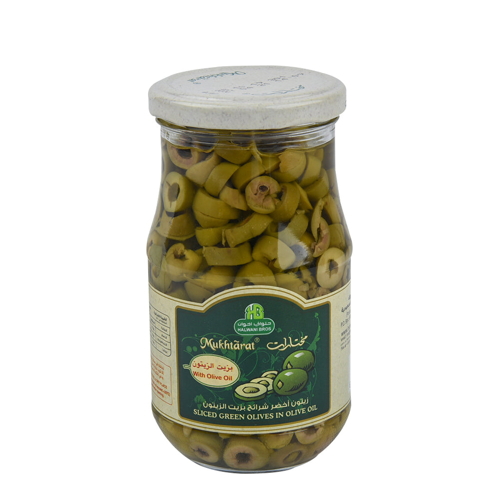 Halwani Green Olives Slice In Oil 325gm