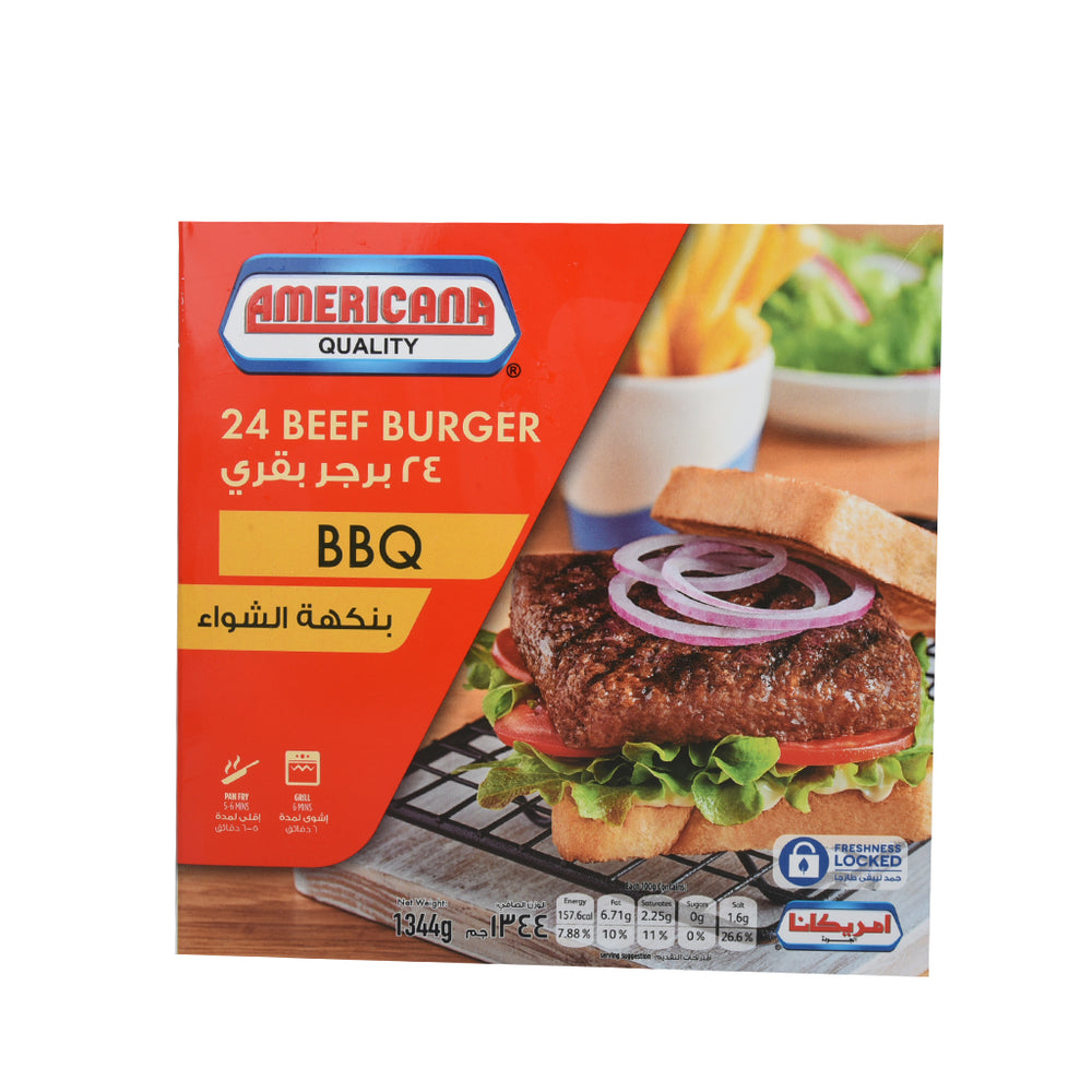 Americana Barbeque Beef Burger 24's 1344gm