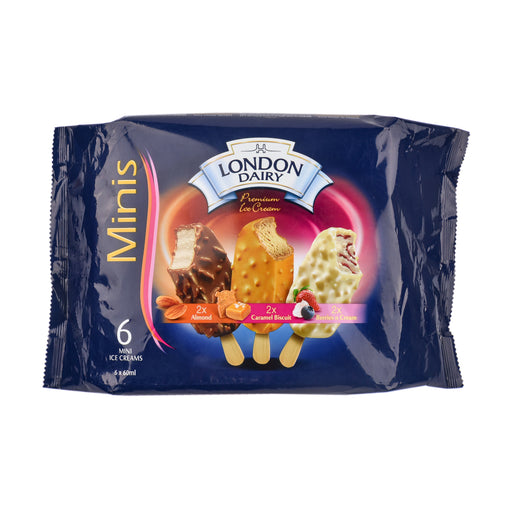 London Dairy Ice Cream Minis Almond Stick 6x60ml