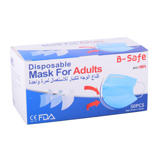 B-Safe 3Ply Disposbl F/Mask  Adults 50's