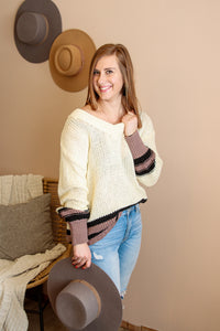 Pearl Ivory, Black and Purple Sweater