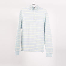 Load image into Gallery viewer, Pale Blue Stripe Half Zip Sweater (Size S)