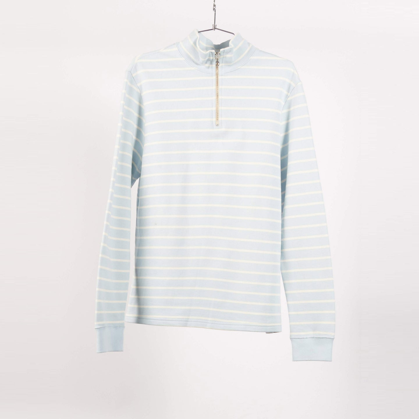 Pale Blue Stripe Half Zip Sweater (Size S)
