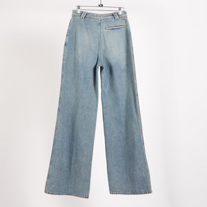 Tiffan Blue Denim Wide Leg Trousers