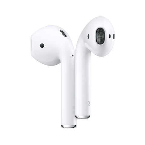 Left and right Airpod earbuds against a white background