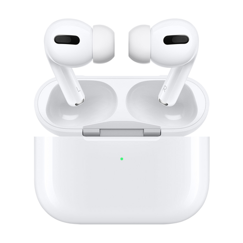 Airpod Pro earbuds facing each other above case against a white background