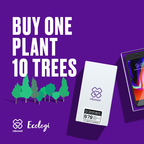Image of 2 mobile phones with reboxed and ecologi logos. Message buy one plant ten trees
