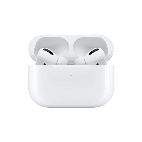 Airpods in their case against a white background