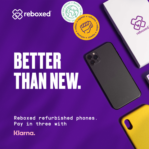Image of i-Phone and eco eco with message Better Than New. Rehomed refurbished phones. Pay in three with Klarna.