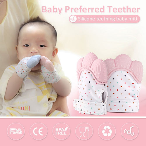 BABY SILICONE TEETHING MITTEN GLOVES (SET OF 3)