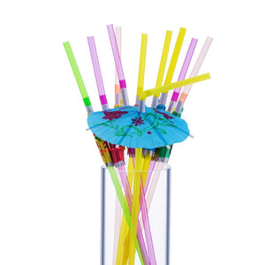 50PCs/Pack -  Plastic Straws with Umbrella for Cocktails