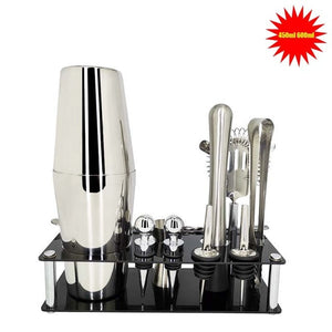 Bartender Cocktail Shaker Kit: 12 Pcs/Set 750/600ml – Stainless Steel