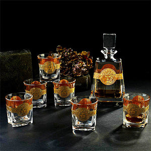 Crystal Glass Drinking Set for Whiskey -  Bohemia Style 6 Pieces Wine Glasses & 570ml Bottle - Gold/Silver Bars Set