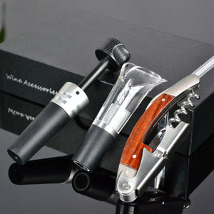 Quality Wine Opener Stainless Steel -  Multifunctional Bottle Opener Cork Corkscrew - Hippocampus Design Wine Stopper Gift Box Set