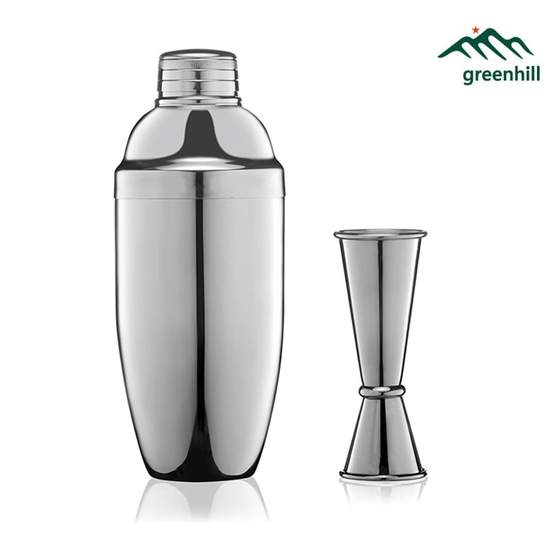 Greenhill Premium Cocktail Barware, Bar tool Kit includes 550ml 18-8 Stainless Steel Shaker, 25/50 ml Double End Jigger