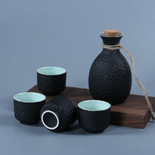 Load image into Gallery viewer, Boutique Art Japanese Sake Set - Flagon Stoup Wine Pot -  4pcs Cups -  Ceramic Snowflake Glaze Honeycomb Design Saka Decanter Home Bar