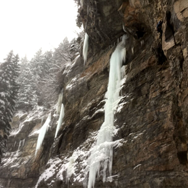 Ice Climbing in Vail's Rigid Designator Amphitheater