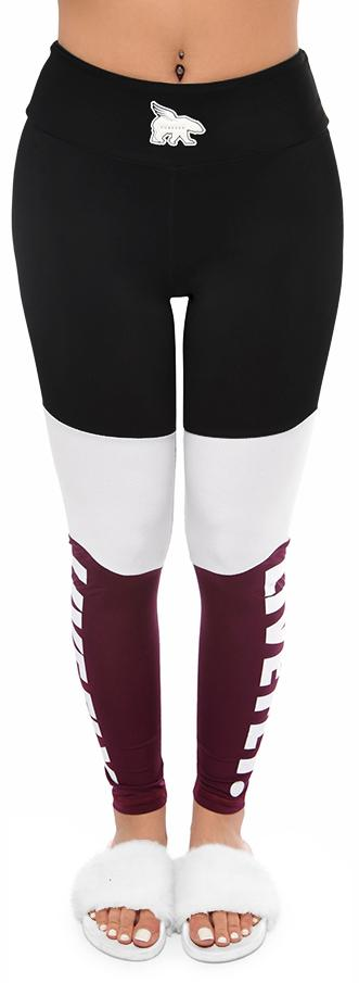 3 Panel High Waist Mesh Leggings: Black/White/Maroon