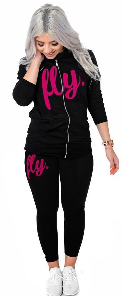 All Day Cotton Zip-Up Legging Outfit: Black