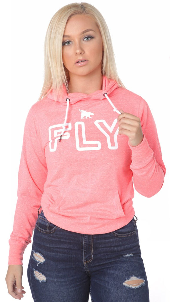 FLY Funnel Neck Campus Hoodie Tee: Peach