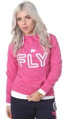 FLY Funnel Neck Campus Hoodie Tee: Pink