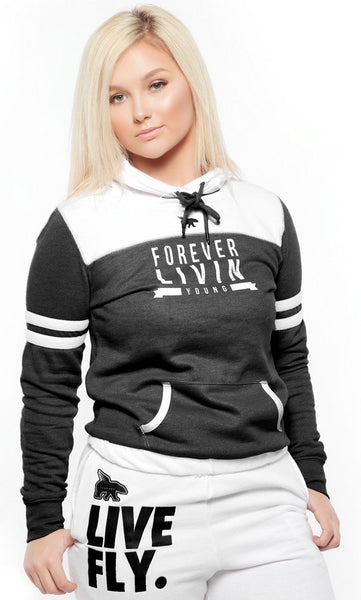 FOREVER LIVIN YOUNG SPORTS HOODIE: BLACK/WHITE