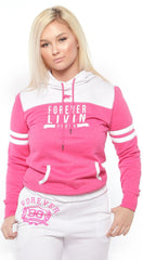 FOREVER LIVIN YOUNG SPORTS HOODIE: PINK/WHITE