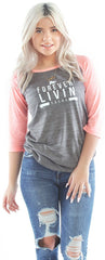 FOREVER LIVIN FLY. WOMENS RAGLAN: PINK/GREY