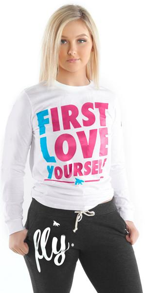 First Love Yourself Long-Sleeve Tee: White