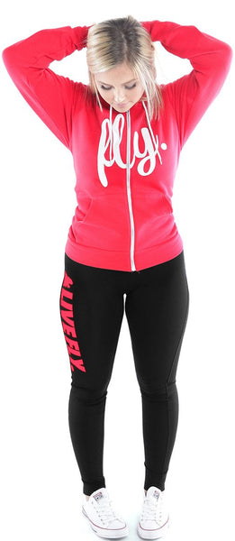 FOREVER LIVE FLY. ZIP-UP HOODIE/LEGGINGS OUTFIT: RED/BLACK