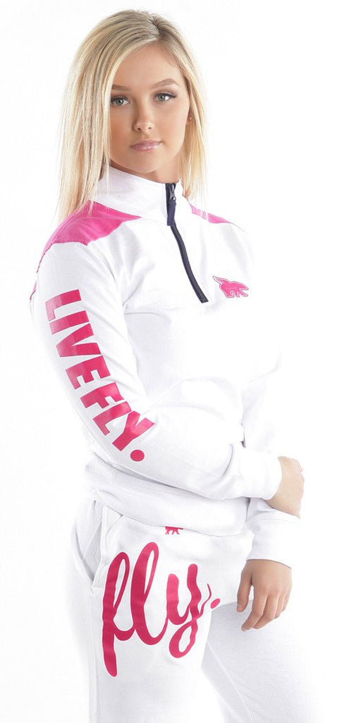 LIVE FLY. Varsity Branded Pullover: WHITE/PINK