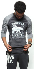 LEGENDS NEVER DIE LIVE FLY. Raglan: Light Grey/Dark Grey
