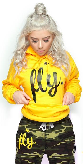 *LIMITED* FLY. Lifestyle Comfort Hoodie: Gold/Camo Print (UNISEX FIT)