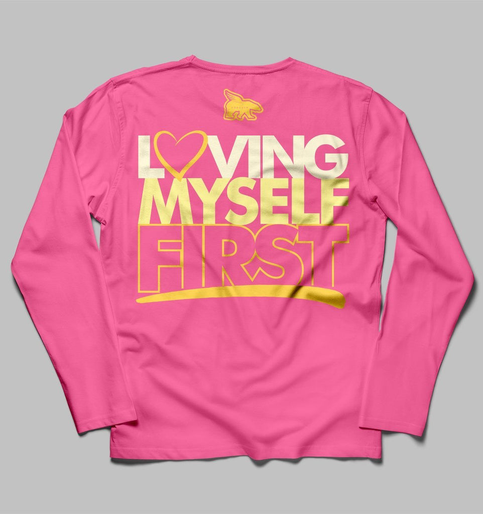 Loving Myself First Long Sleeve Hangout Tee: Pink
