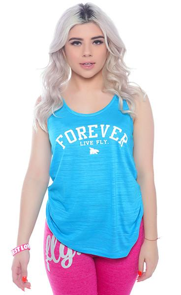 FOREVER Tri-blend Flowy Tank: Turquoise
