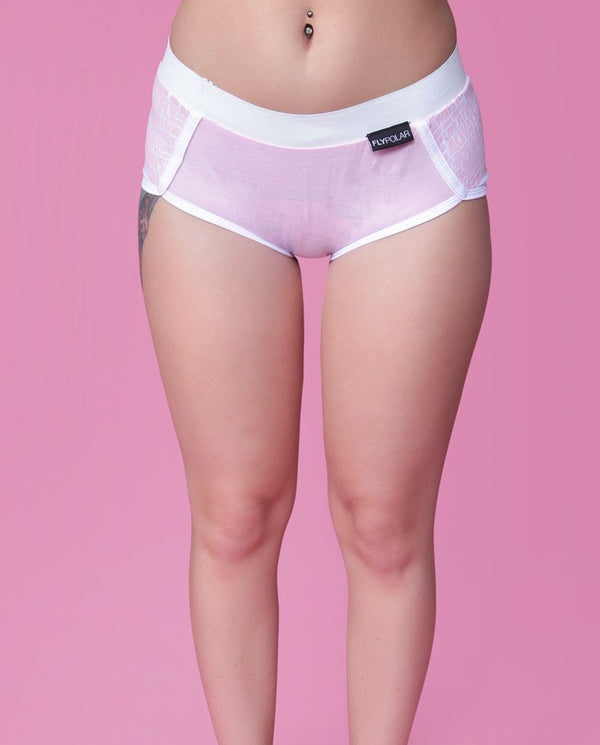 ALL DAY MESH Branded Boyshorts:  Cotton Candy Pink