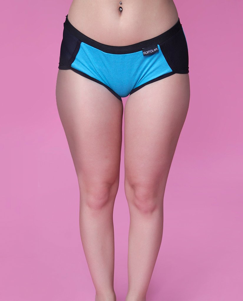 ALL DAY MESH Branded Boyshorts:  Cool Aqua