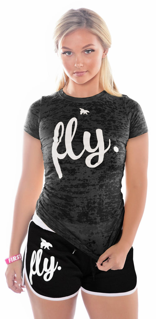 FLY. Burnout Shirt & Boyfriend Shorts Outfit - Black/Black with White Pipping