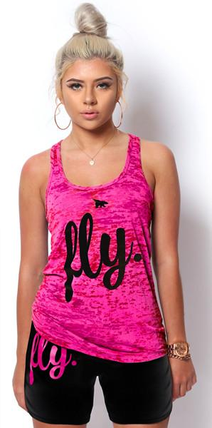 FLY. Burnout Tank & Boyfriend Shorts Outfit - Pink/Black