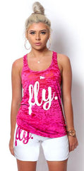 FLY. Burnout Tank & Boyfriend Shorts Outfit: Pink/White